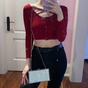 ROMWE Red Knit Crop Top